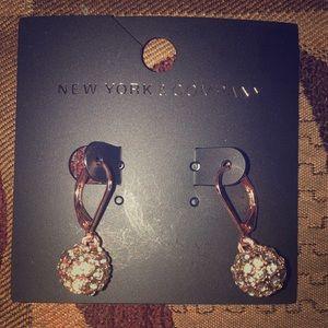 New York & company rose gold fireball earrings